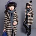 2017 Girls Winter Coat Children Clothing Girls Wool Coat Fashion Houndstooth High-end Woolen Blends Long Coat Kids Age 3-15T