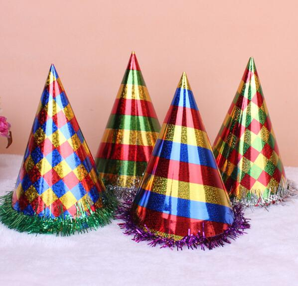 Free Shipping 30pcs Lot Size 24 Glister Laser Paper Party Cap Birthday Hat For Children Or Adults Grid And Stripe Style