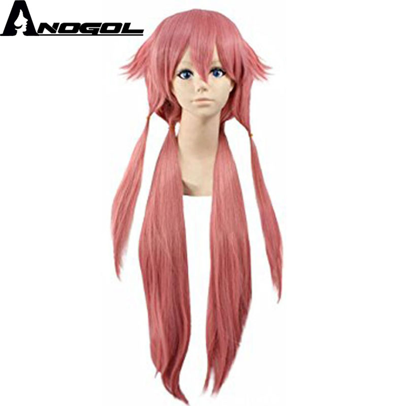 Anogol Anime Future Diary Gasai Yuno Mirai Nikki Long Pink Straight Synthetic Cosplay Wig For Halloween Party Costume For Girls