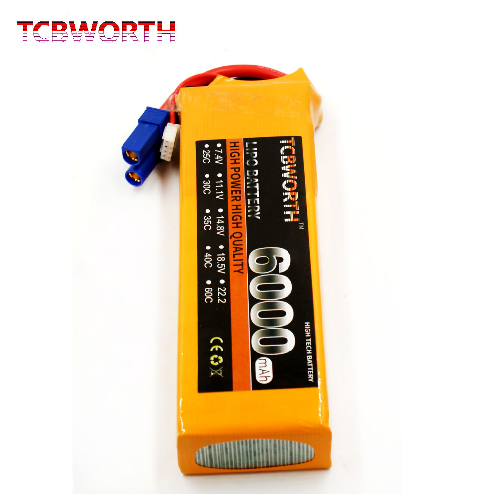 TCBWORTH RC LiPo battery 2S 7.4V 6000mAh 25C For Quadrotor Airplane drone AKKU 2s batteria 1s 2s 3s 4s 5s 6s 7s 8s lipo battery balance connector for rc model battery esc