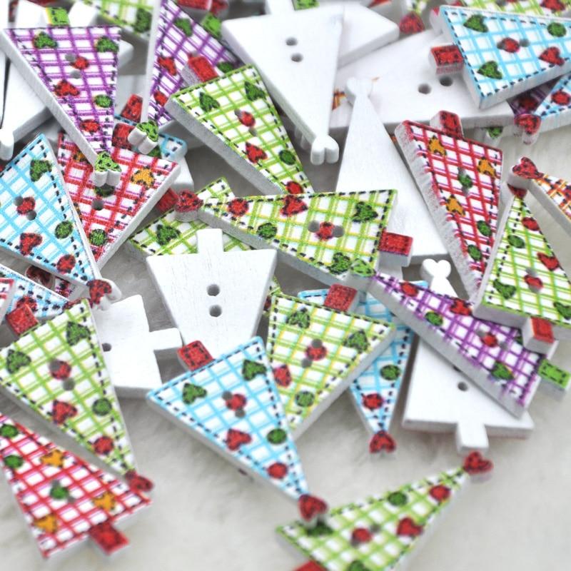 100 шт. multi Цвет деревянные пуговицы, смешанные Цвет красивые рождественской елки botones печати Швейная фурнитура записки WB235