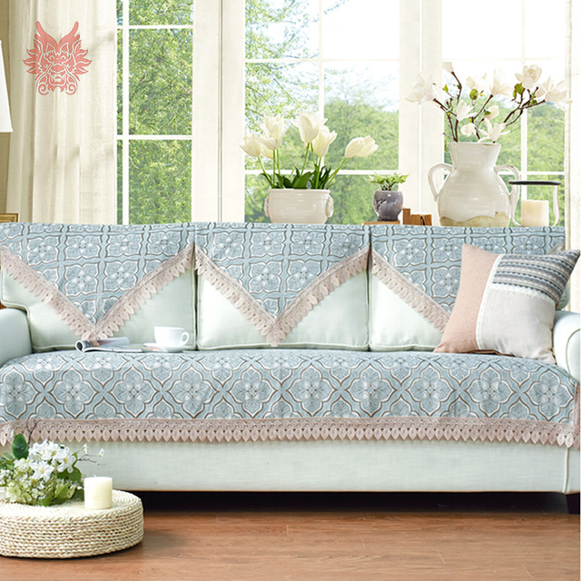 European Style Blue/grey/beige Floral Terry Chenille Sofa Cover Slipcovers  For Sectional Sofa