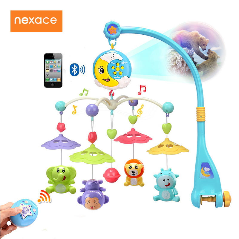 Baby Crib Mobile Rattle Musical Bed Projection Bell Baby Bluetooth Toy shiloh 60 songs musical mobile baby crib rotating music box baby toys new multifunctional baby rattle toy baby mobile bed bell