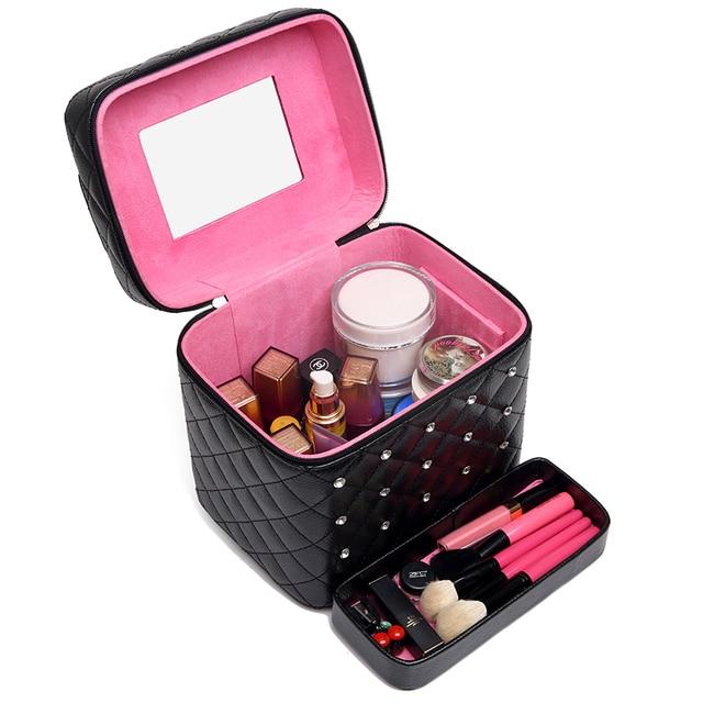 Multi Слой Большой Емкости составляют Сумки Кожа Pu Хранения Организатор Professional Beauty Случаях ручные Портативные Косметички