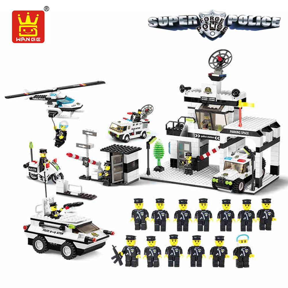WANGE City Police Station Building Blocks Enlighten Brick Police Figures Educational Toys Compatible Christmas Gifts Boy Kid DIY city series police car motorcycle building blocks policeman models toys for children boy gifts compatible with legoeinglys 26014