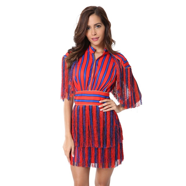 Striped Red Blue Patchwork Tassel Fashion Short Sleeves Women Celebrity Fringe New Sexy Above Knee Dresses Vestidos