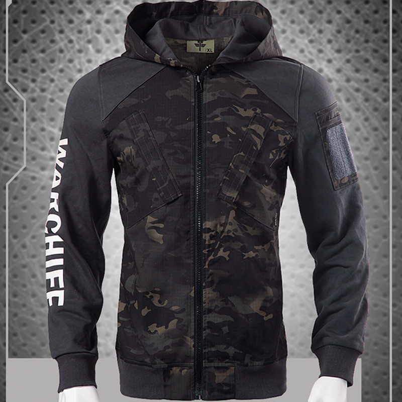 2018 New Man Tactical Camouflage & Pure Patch Jacket/ Tactical Hoody Multicam Black Jacket/ Man Hoody Tactical Jacket