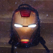 3D Iron Man Eyes Glow Backpack The Avengers Backpacks Waterproof Men Women Bag Pack Luxury Designer School Bags Travel Backpack серьги silver wings 220041 32 197