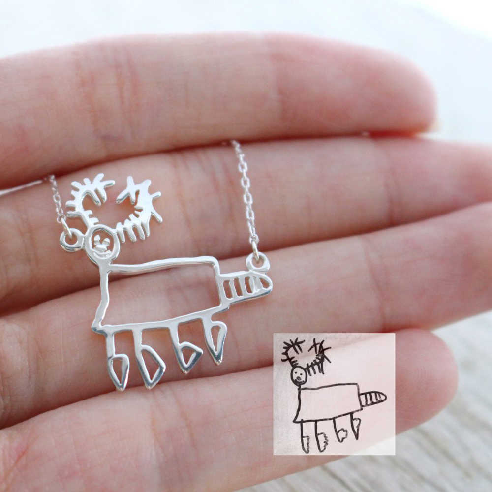Customized Children's Drawing Necklace Kid's Art Child Artwork Personalized Necklace Custom Your Design Name LOGO Jewelry GIFT
