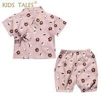 Children's Wear Kimono Pajamas Baby Girl Clothes Children Suit Kids Home Clothing Newborn Baby Infantil Set Shirt + Shorts