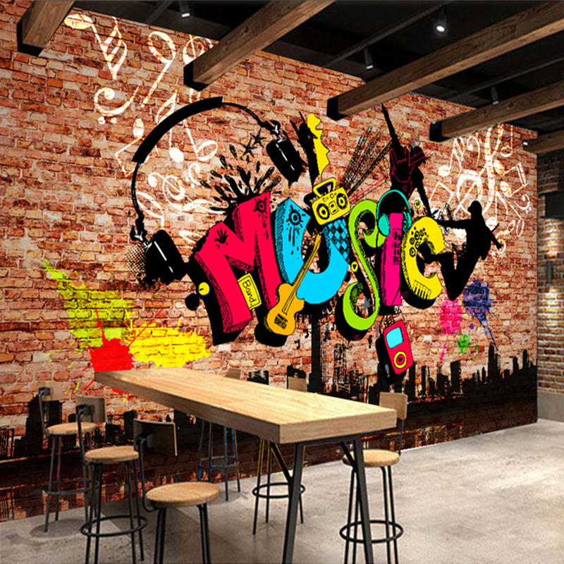 Custom 3D Wall Murals Wallpaper City Music Art Graffiti Brick Wall Large Wall Painting Mural Wall Papers Home Decor Living Room