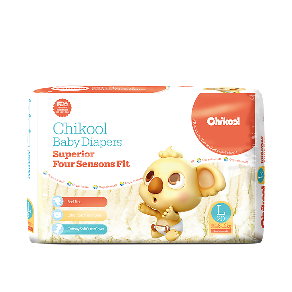 2018 New Chikool Baby Diapers 40pcs Size L for 8~12kg Baby Newborn disposable diapers Absorbent Breathable Dry for single use