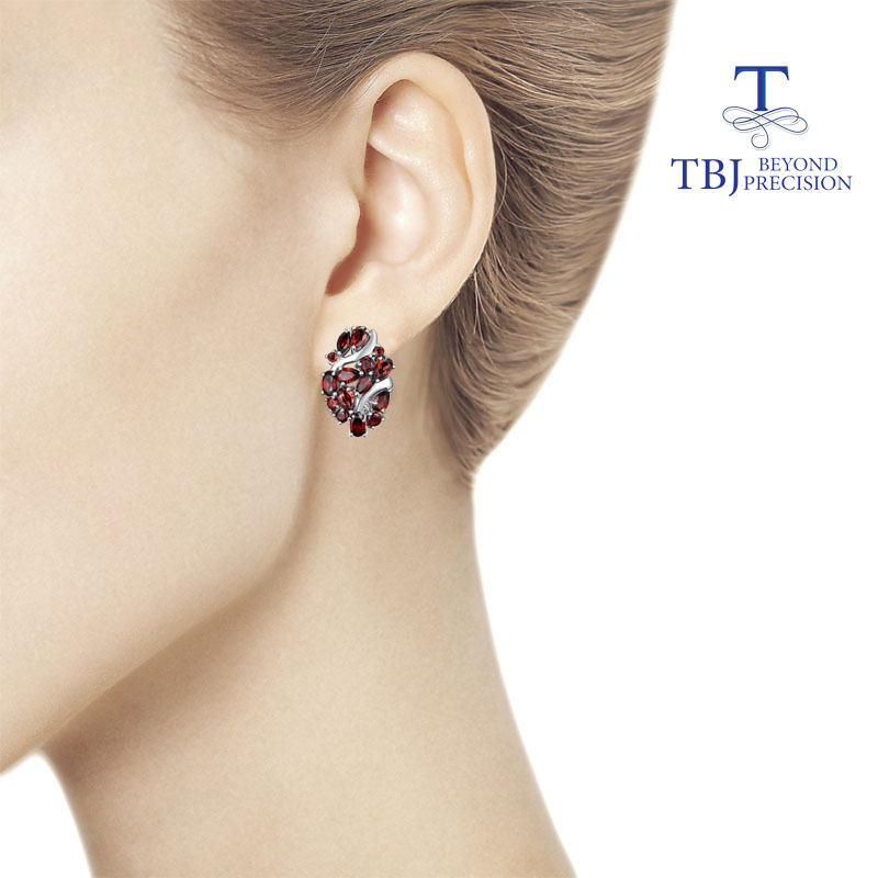 TBJ,Natural Mozambique garnet clasp earring 925 sterling silver fine jewelry for women wife luxury design anniversary party gift
