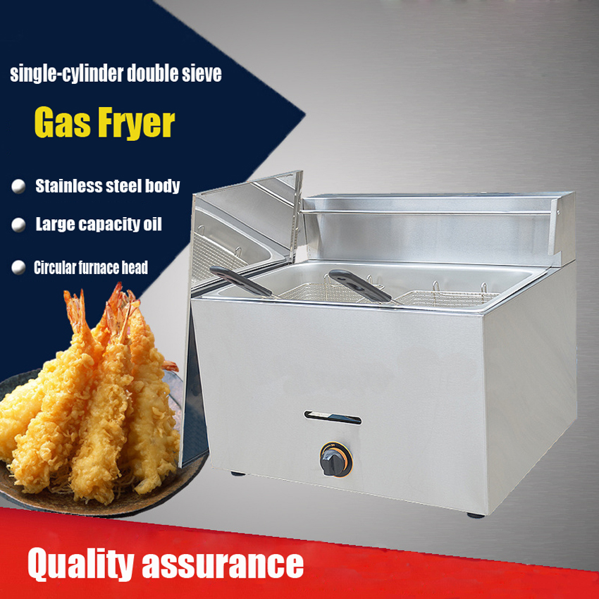 1PC gas type Stainless steel food fryer French  fryer potato fryer single cylinder double sieve fryer fast food leisure fast food equipment stainless steel gas fryer 3l spanish churro maker machine