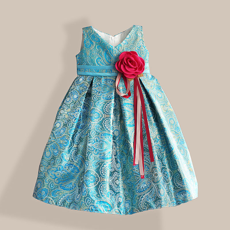 New Year Girl Party Dress Red Ribbon Flower Bow Kids Dress Blue Lace Embroidery Girls Dresses for Party Wedding Size 3-8T new fashion embroidery flower big girls princess dress summer kids dresses for wedding and party baby girl lace dress cute bow