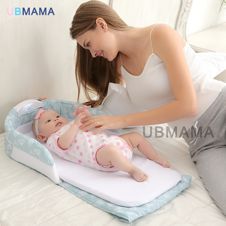 High quality music Nightlight baby bed folding bed baby cradle portable folding bed can carry out safety high quality export baby bed folding portable travel bed 3 colors in stock hong kong free delivery without changing table
