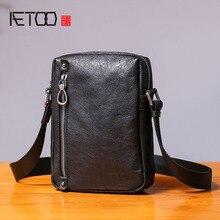 AETOO Single shoulder bag male leather casual vertical small bag handmade retro head cowhide men's small satchel недорого