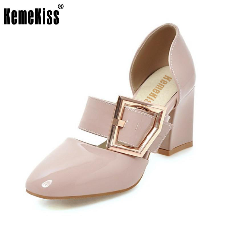 KemeKiss Size 33-43 Basic Women High Heels Sandals Square Toe Buckle Thick Heel Shoes Women Party Office Lady Sandalias Footwear kemekiss size 32 45 women concise pumps square toe high heels shoes solid office lady thick heel pump party wedding footwears