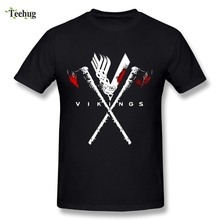Cool Mens Vikings T Shirts Pure Cotton Plus Size Axe T-shirt For Man
