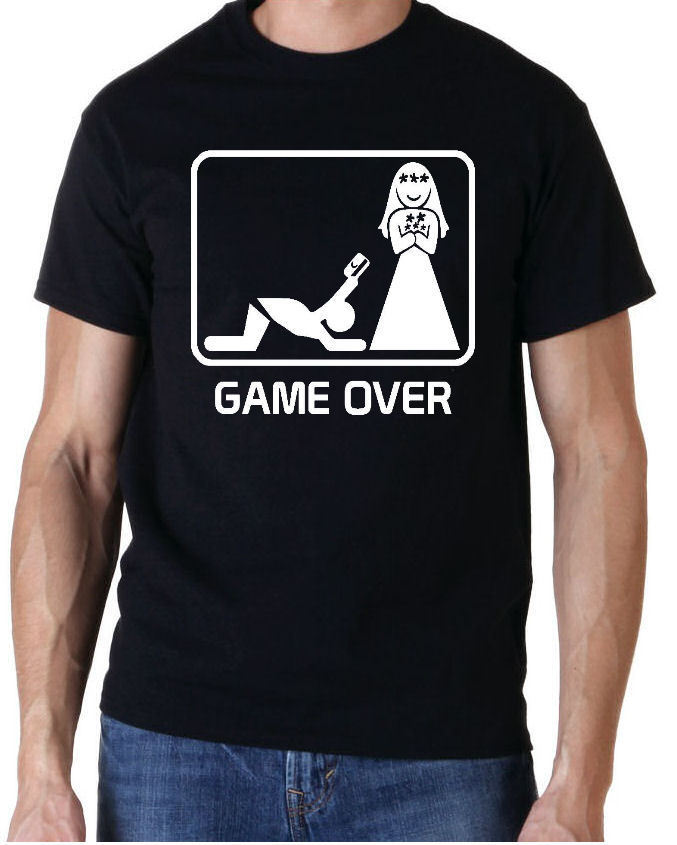 GAME OVER CREDIT CARD FUNNY STAG PARTY DO T SHIRT + NAME ON BACK