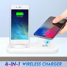 4 in 1 Charging Dock Station For iPhone XS X Max 8 7 6S 6 Plus USB Type C Charging Stand Qi Wireless Charger For Samsung S9 S8 exrizu a9 audio music nfc subwoofer hifi wireless portable speaker charger dock station for iphone 8 6 6s plus 7 plus se android