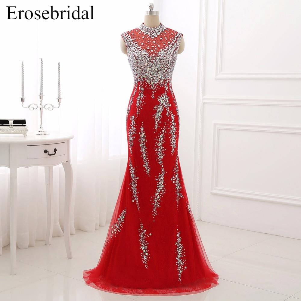 Evening     Dresses   2018 Erosebridal Sparkly Crystal Formal Women Wear High Collar Party Gowns Vestido De Festa DLR01