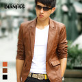 Brown Yellow Black Spring Autumn New2014 Korean Male Slim Leather Blazer Fashion Pu Leather Jacket Mens Suit Jacket M-XXXL D2760