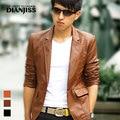 Brown Yellow Black Spring Autumn New2014 Korean Male Slim Leather Blazer Fashion Pu Leather Jacket Mens Suit Jacket M-XXXL D2760