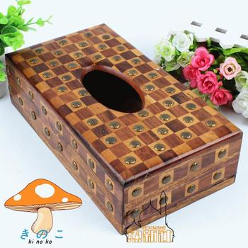 Pakistan wood carving antique wooden box inlaid copper flower box long walnut box special offer processing