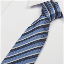 % silk 8cm grey and white striped blue men's tie lot wholesale(China)