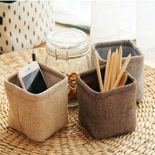 New Mini small  linen pen holder desktop boxes cloth art brush pot Photo props Simple and lovely key box little pen holders