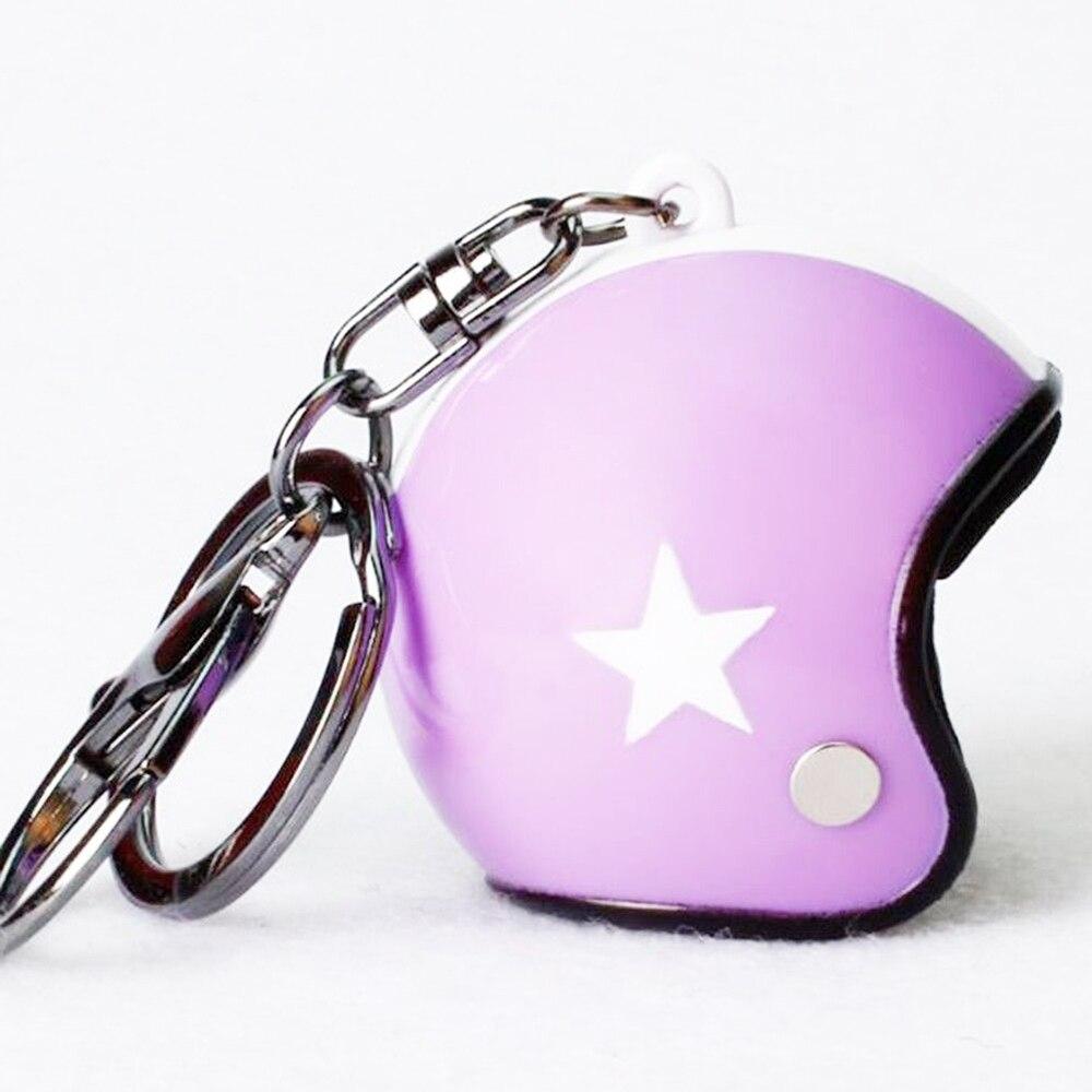 VEHEMO шлем 4,5*4,2 см автомобильные ключи Висячие капли брелок аксессуары Ювелирные наборы автомобильные запчасти - Название цвета: purple white