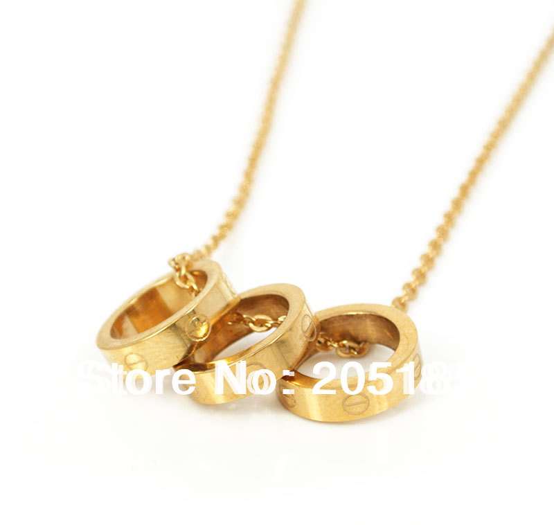 2014 women fashion brand circle 316L Stainless Steel Gold Circle pendant choker necklace Christmas gifts