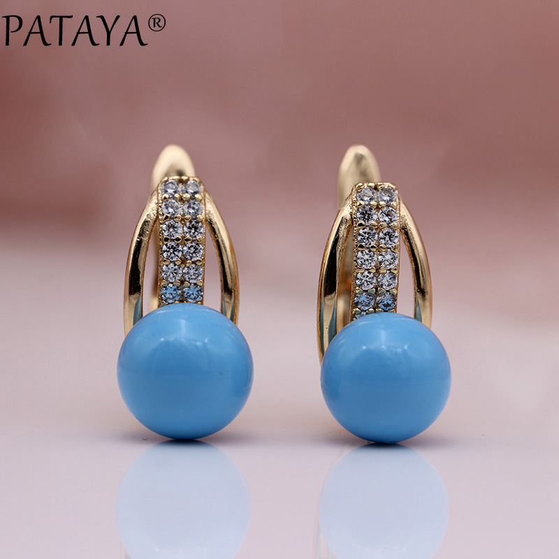 PATAYA New 585 Rose Gold Dangle Earrings Women Natural Zircon Turkish Blue Shell Pearls Long Earring Girls AB Color Cute Jewelry все цены