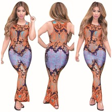Spring Summer Sexy Printing Bodycon Bandage Dress Bohemian Vintage Vestidos Mujer Femme Robe For Lidies Beach Party Night Club(China)