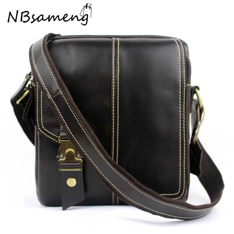ФОТО New Fashion 2016 Mens Genuine Cowhide Leather Vintage Handbag With Strap Office Bags Solid Messenger Bag smb652