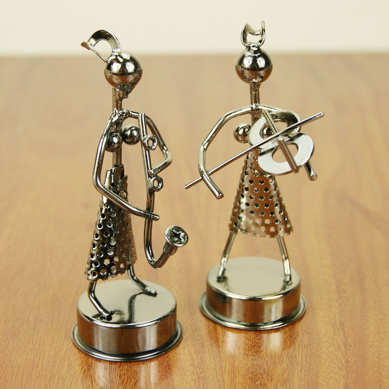 Multi-style Girl Band DIY Orchestra Figurines Music Metal Craft Home Furnishing Ornament Miniatures Instrumentalists Gifts