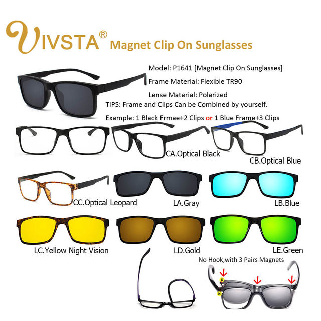62c6f13b304 Online Shop IVSTA Include Frame Polarized Clip On Sunglasses Men ...