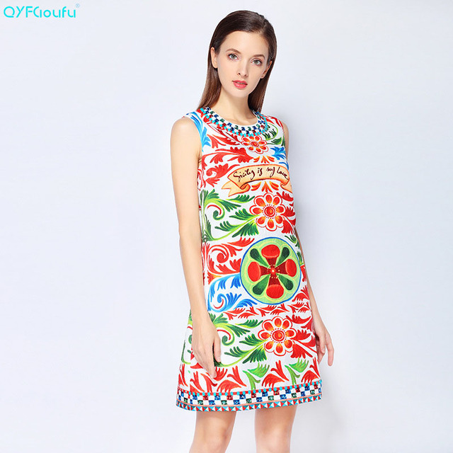 312b313e92a QYFCIOUFU New 2018 Fashion Runway Designer Summer Dress Women Sleeveless  High Quality Casual Vintage Beading Floral Print Dress