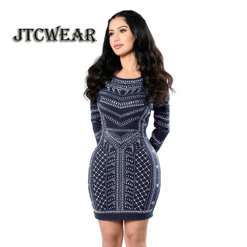 JTCWEAR Deep U Back Long Sleeve Dress Digital Print Lady O Neck Bodycon Dress Night Club ...