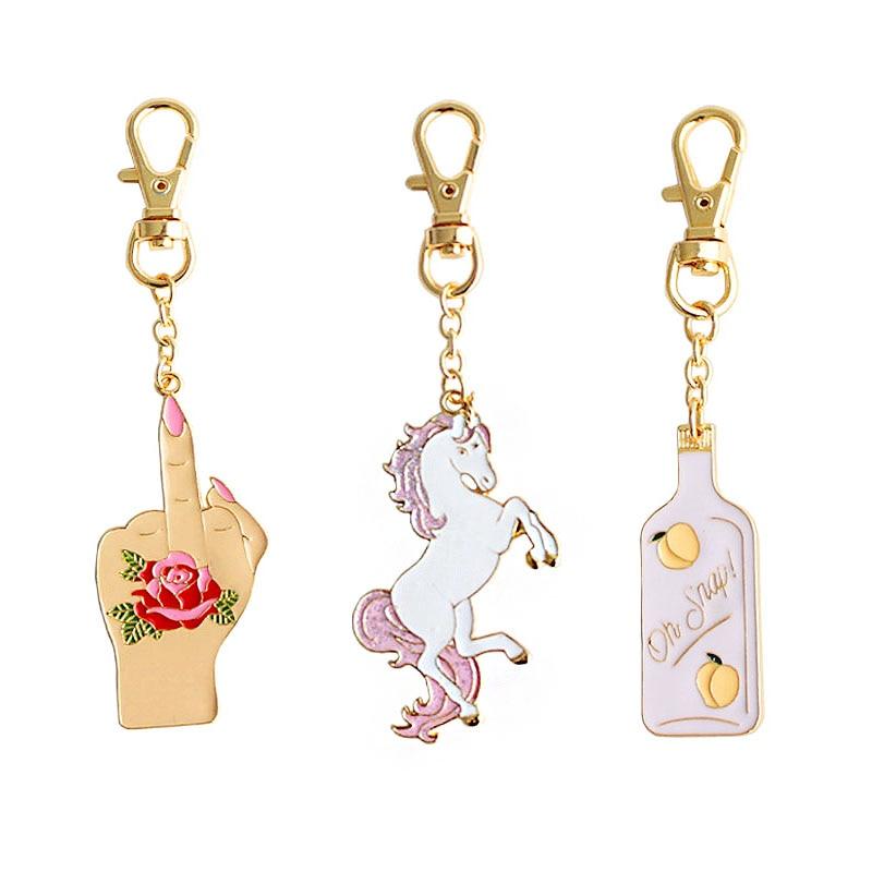 2019 New Hot Fashion Cartoon Rose Unicorn Bottle Personalidad Feautiful Original Popular Key Chains 6354