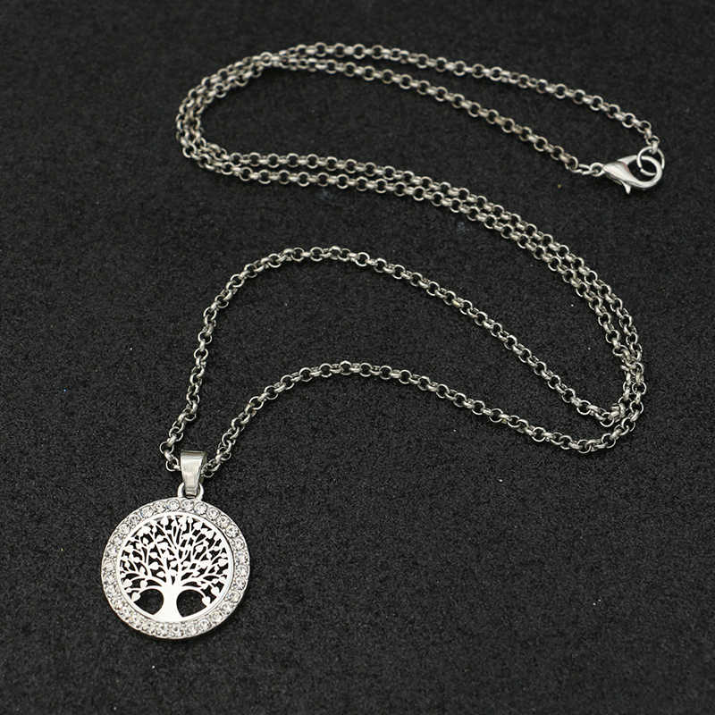 2019 New Arrival Silver Plated Tree of Life Charm Pendant Necklace for Women Girl's Necklace Christmas Gift 60cm