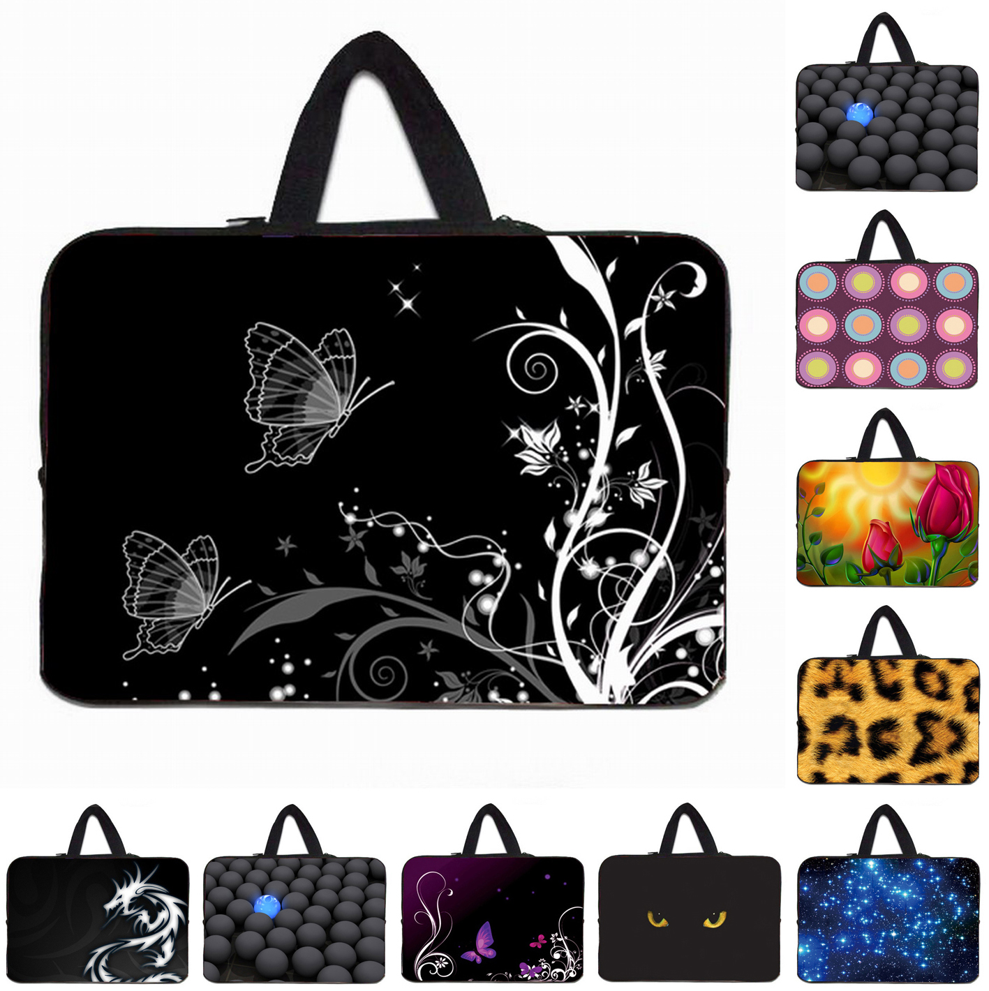 "Neoprene 10"" Laptop Bags For Women Elegant Floral Notebook Zipper Cases Pouch Bags Cover For 9.7 12 13 13.3 14 15 17 Inch Tablet"
