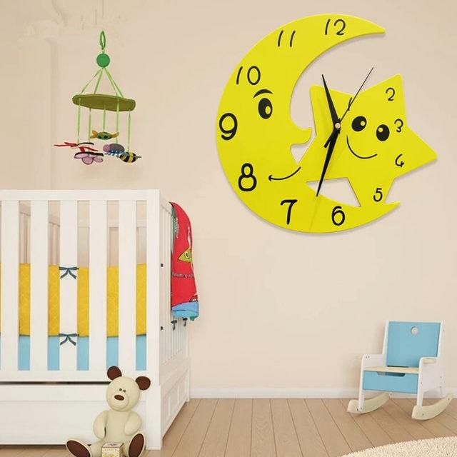 Online Shop Geekcook 12 Inch Cartoon Star Moon Wall Clock Living ...