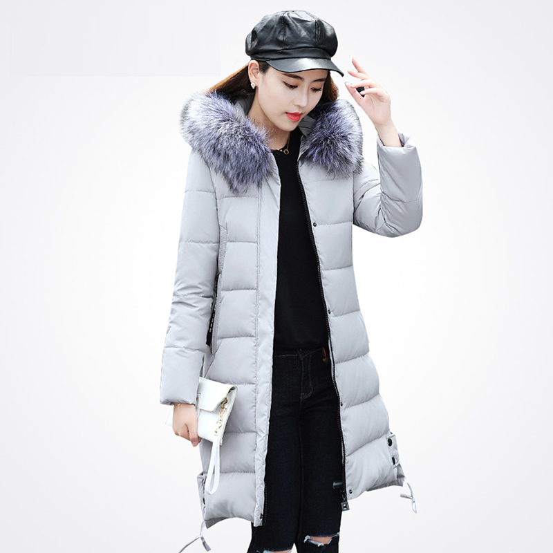 New Fashion 2017 Autumn Winter Down Cotton Jacket Women Long Coats Hooded Faux Fur Feather Jacket Female Outwear RE0063 эргорюкзак boba carrier vail