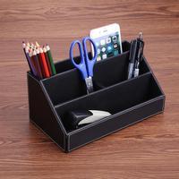 PU Leather Office Desk Organizer Storage Box Desktop Pen Pencil Stationery Holder Accessories School Escritorio Supply