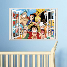 Luffy One Piece Amine Comic 3D Window Wall Sticker
