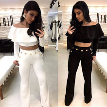 Women Ladies Lace Off Shoulder Long Sleeve Ruffle Jumpsuit Bodycon Playsuit Trousers Romper