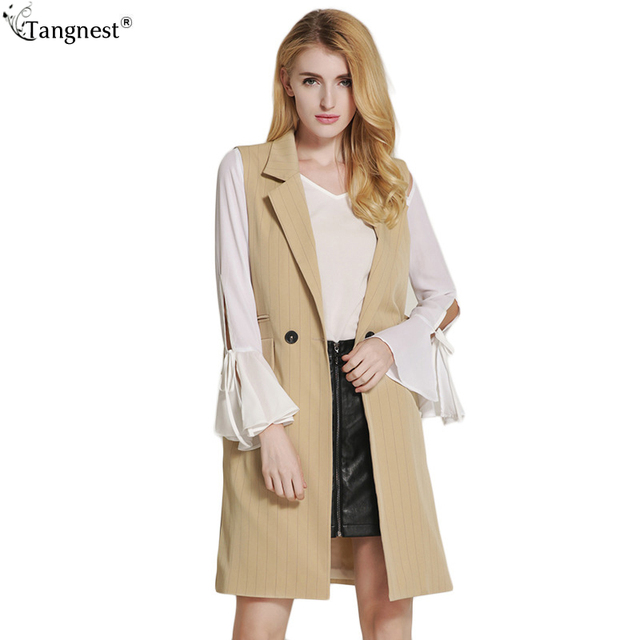 TANGNEST Striped Print Elegant Long Waistcoat 2017 Fashion Woman Autumn Turn Down Collar Vest OL Classic Plus Size Coat WWV327