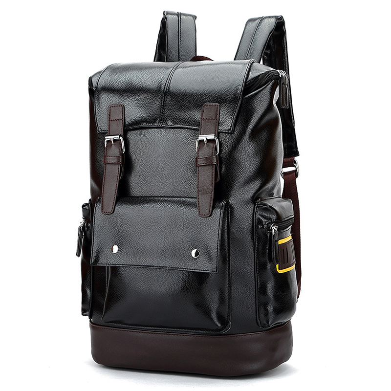 c2f2ed2e3ec2 FANKE POLO Casual Backpack Men PU Leather School Backpacks For Teenagers  Black Fashion 15 Laptop Travel Shoulder Bag FB170878-in Backpacks from  Luggage ...